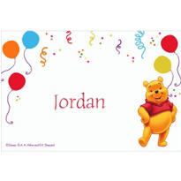 Pooh and Party Balloons Custom Thank You Note