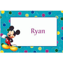 Mickey & Balloons on Teal Custom Thank You Note