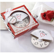 A Slice Of Love Stainless-Steel Pizza Cutter Wedding Favor
