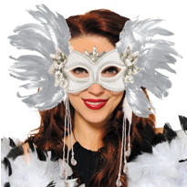 White Fantasy Venetian Feather Mardi Gras Mask