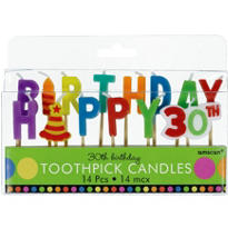 Dots & Stripes 30th Birthday Candle Picks