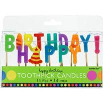 Dots & Stripes Happy Birthday Candle Picks
