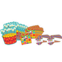 Happy Birthday Dots & Stripes Cutouts 30ct