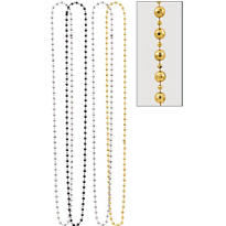 Black, Gold and Silver Diamond Bead Necklaces 60in 4ct