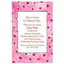 Red Hearts on Pink Custom Valentines Day Invitation