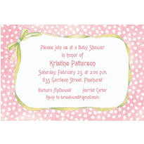 Custom Pink Polka Dots & Bow Baby Shower Invitations