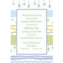 Stars with Gingham Custom Baby Shower Invitation