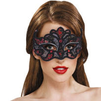 Black and Red Lace Mask