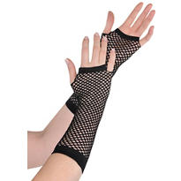Long Black Fishnet Gloves Deluxe