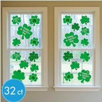 St. Patricks Day Vinyl Window Decorations 32ct