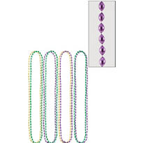 Mardi Gras Bead Necklaces 30in 8ct