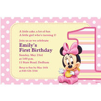 Minnie 1st Birthday Custom Invitation
