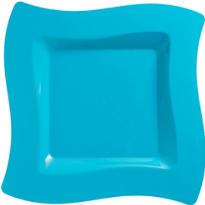 Caribbean Blue Premium Plastic Wavy Dinner Plates 10ct