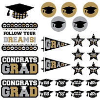 Black, Gold & Silver Graduation Cutouts 30ct