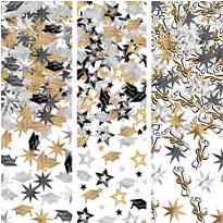 Black, Gold and Silver Graduation Confetti 3pk