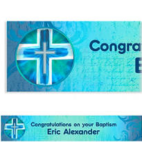 Joyous Cross Blue Custom Banner 6ft