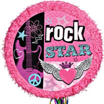 Pull String Rocker Girl Drum Pinata