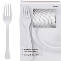 White Premium Plastic Forks 100ct