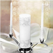 Silver Heart Candle Set 3ct