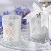 Fleur de Lis Frosted-Glass Tea Light Holder Wedding Favor