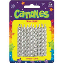 Silver Birthday Candles 2in 10ct