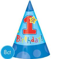 1st Birthday Boy Party Hats 8ct