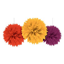 Fall Fluffy Decorations 16in 3ct