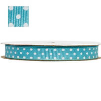 Robin's Egg Blue Polka Dot Ribbon 3/8in 12ft