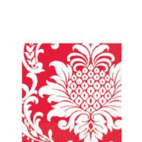 Red Damask Beverage Napkins 16ct