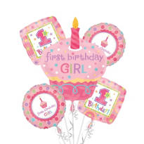 Sweet Little Cupcake Girl Balloon Bouquet 5pc