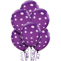 Purple Polka Dot Balloons 6ct