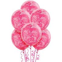 Pink Birthday Balloons 6ct - Confetti