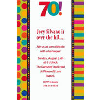 Birthday Dots & Stripes 70 Custom Invitation