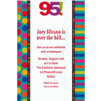 Birthday Dots & Stripes 95 Custom Invitation