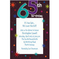 The Party Continues 65 Custom Invitation