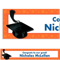 Orange Congrats Grad Custom Graduation Banner 6ft