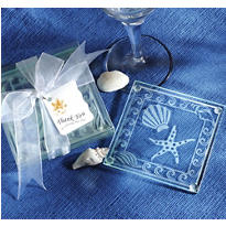 Shell & Starfish Glass Coaster Wedding Favor 2ct