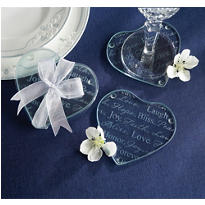Good Wishes Heart Glass Coaster Wedding Favor 2ct