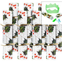 Medium Holly Christmas Crackers 8ct