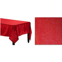 Metallic Red Fabric Tablecloth 84in