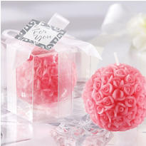 Pink Rose Ball Candle Wedding Favor