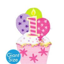 Giant Pink 1st Birthday Cupcake Pinata