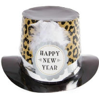 Black, Silver and Gold Leopard Print New Years Top Hat 6in