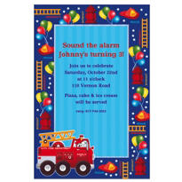 Fire Engine Fun Custom Invitation