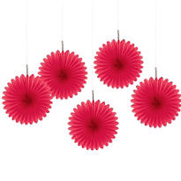 Red Hanging Fans 6in 5ct