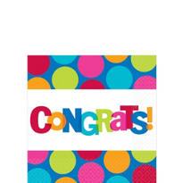Cabana Polka Dot Congratulations Beverage Napkins 16ct