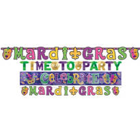 Mardi Gras Letter Banner Value Pack 4ct