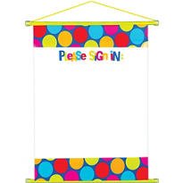 Cabana Polka Dot Personalize It Hanging Sign-In Scroll 23in x 18in