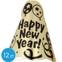 Happy New Year Printed Gold Cone Hat 8in 12ct <span class=messagesale><br><b>83¢ per piece!</b></br></span>