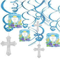Blue First Communion Hanging Swirl Decorations 12ct